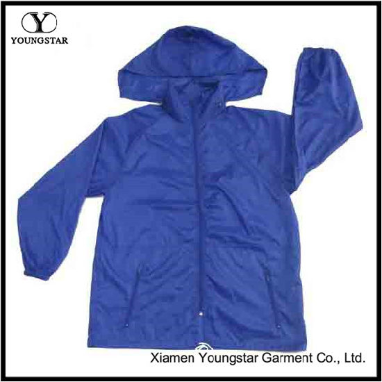 Waterproof Hooded Mens Navy Blue Windbreaker Rain Jacket