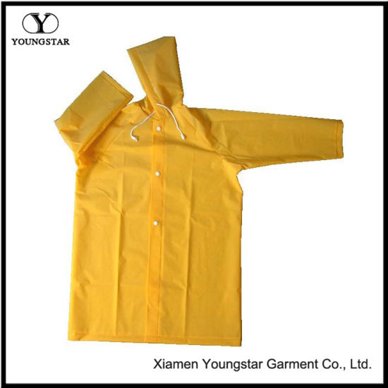 Reusable Waterproof PVC Long Raincoat with Button Style