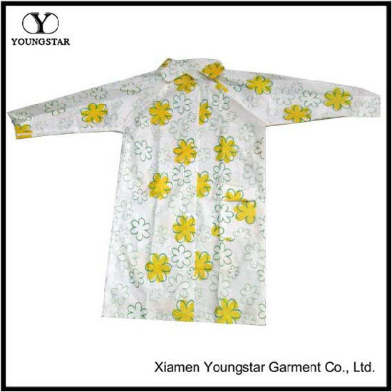 Cheap Fashion Printed Flower PVC Raincoat for Outdoor Travel