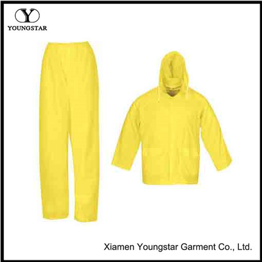 Durable PVC / Polyester Coating Rainsuit & Rain Suit with Hood