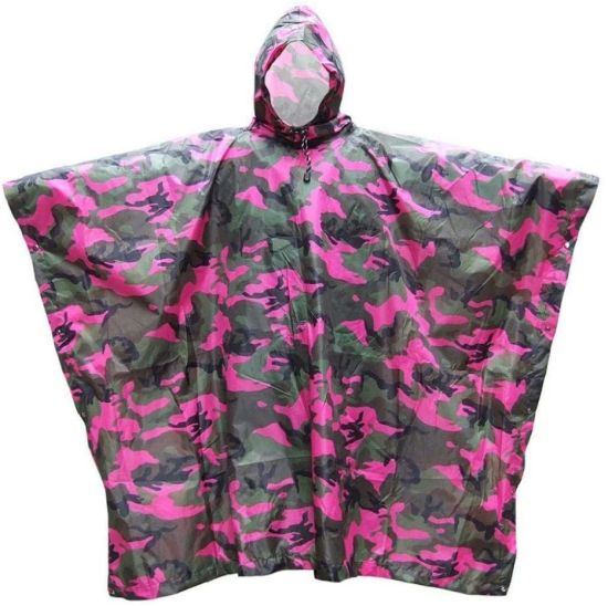 Waterproof Rain Poncho Unisex Fuchsia Waterproof Raincoat with Cap Outdoor Rain Coat Travel Waterproof Rainwear Adult Poncho Free Size