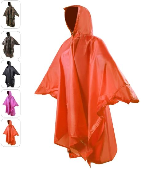 Rain Poncho for Adult, Plus Size Rain Coat with Hoods and Sleeves for Men Women Camping Hiking Cycling