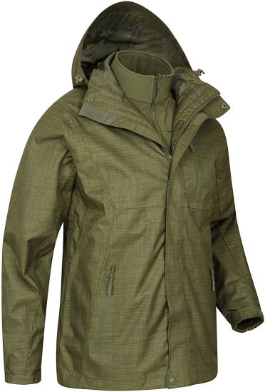 3 in 1 Jacket - Lightweight Rain Coat, Taped Seams, Waterproof Rain Jacket, Breathable - Ideal Mens Coat for Winter