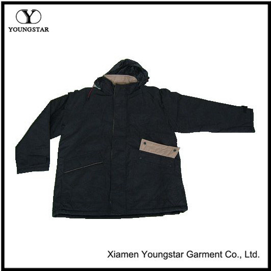 Weather Jackets Waterproof Black Men Parkas with Hood