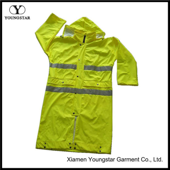 Wholesale PU Coating Safety Rain Coat with Reflective Tape