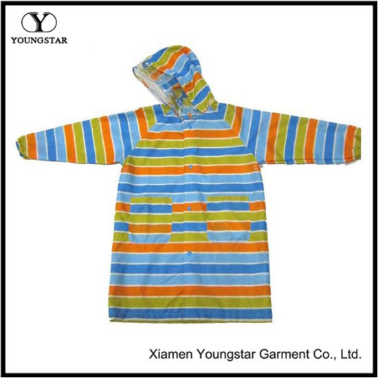 Ys-6206 Toddler Girl Colorful Hooded Long Raincoat Women′s Rain Slicker