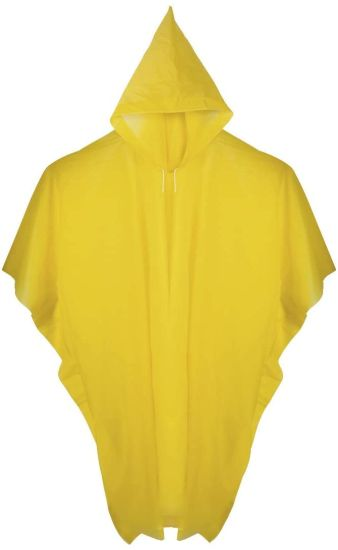 Adults Outdoor Full Body Protection Rain Poncho with Hood & Drawcord Closure Ideal for Hiking, Cycling, Concerts, Festivals and More - Yellow