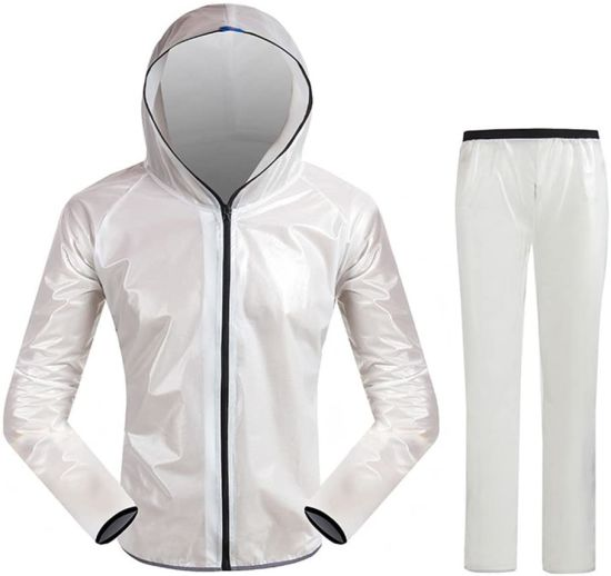 Adults Rainproof Windproof Hooded Outdoor Work Motorcycle Golf Fishing Hiking Hunting White Waterproof Raincoat (Size: XL)