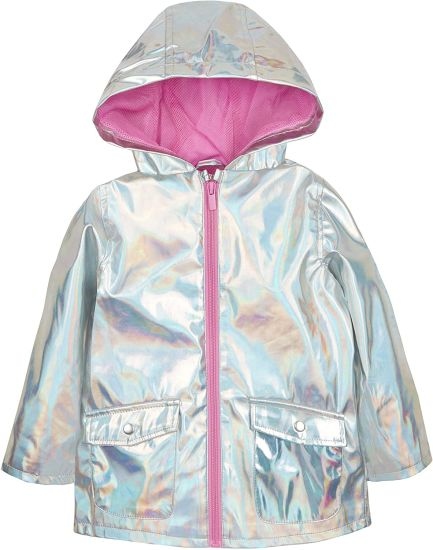 Baby Girls Iridescent Shiny Rain Coat with Hood