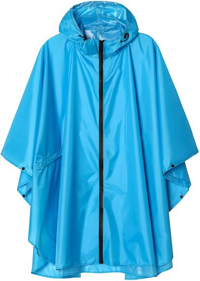 Summer Rain Poncho Jacket Coat for Adults Hooded Waterproof with Zipper Outdoor