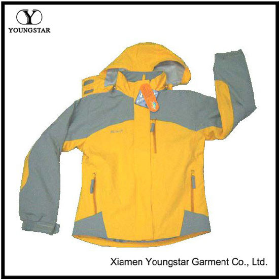 Custom Yellow Lined Outdoor Hooded Mens Windbreaker Jacket