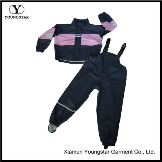 Fashion Design PU Waterproof Rain Suit for Children or Adult