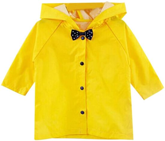 Children Poncho Thick Nylon Kids Raincoat (Yellow)