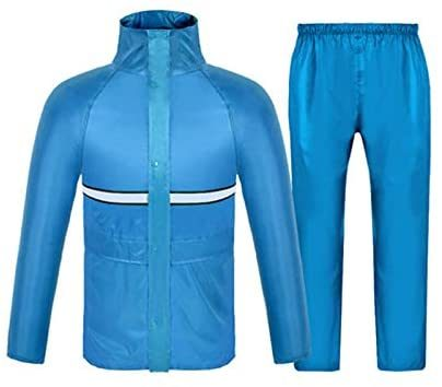 Waterproof Jacket/Pants Set Adult Windproof Coat/Pants Set, Outdoor Hiking Raincoat Poncho, Men′s Lightweight Waterproof Jacket (Color: Light blue, Size: M)