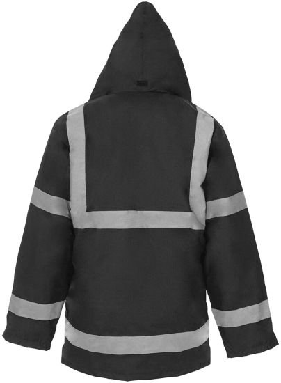 Jacket High Visibility Work Wear Safety Security Concealed Hood Fluorescent Flashing Hooded Padded ¾ Length Waterproof Work Coat Top