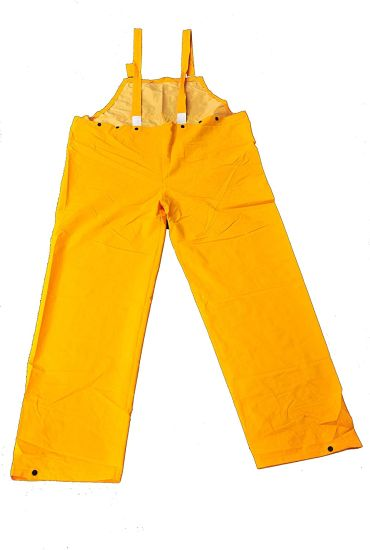 Heavy Weight PVC Over Polyester Rain Bib Overalls/Pants - Yellow