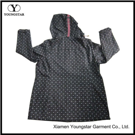 Ys-1067 Printed Black Microfleece Waterproof Breathable Womens Hooded Softshell Jacket