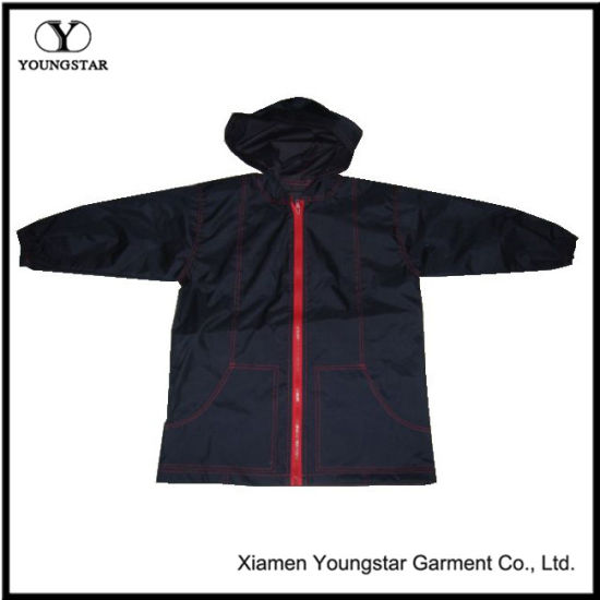 Hooded Polyester Black Raincoat for Teen Boys