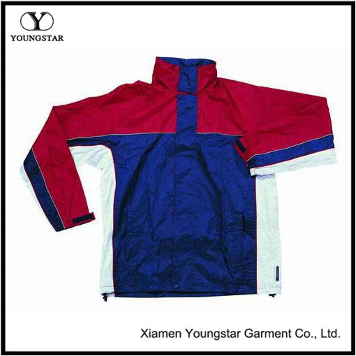 Ys-1016 Polyester PVC Lined Waterproof Rain Jacket with Hood