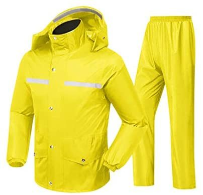 Split Raincoat Rain Pants Set, Rainwear Black/Yellow Waterproof Raincoat Double Body Thick Rain Pants Suit Split Riot Raincoat, Lightweight Windbreaker Jacket