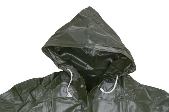 Dark Green Thick Long Vinyl Raincoat with Hood