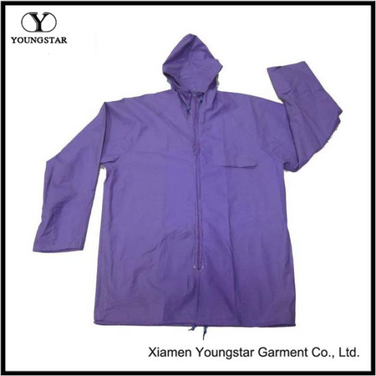 Wholesale Purple Color Women′s PVC Raincoat with Hood