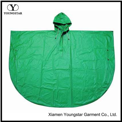 Round Shaped Rain Cape Green Color PVC Adult Non Disposable Rain Poncho
