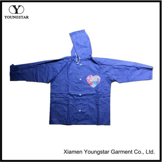 Blue Color PVC Coating Waterproof Children Rain Jacket