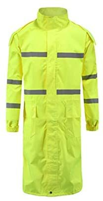 Raincoat Long Poncho Thicker Double Layer Windbreaker Raincoat (Color: Fluorescent yellow)