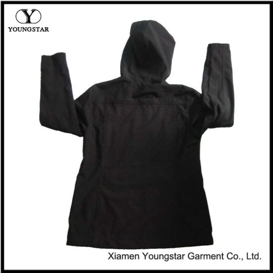 Ys-1072 Ladies Black Fleece Waterproof Breathable Softshell Jacket with Hood Women′s