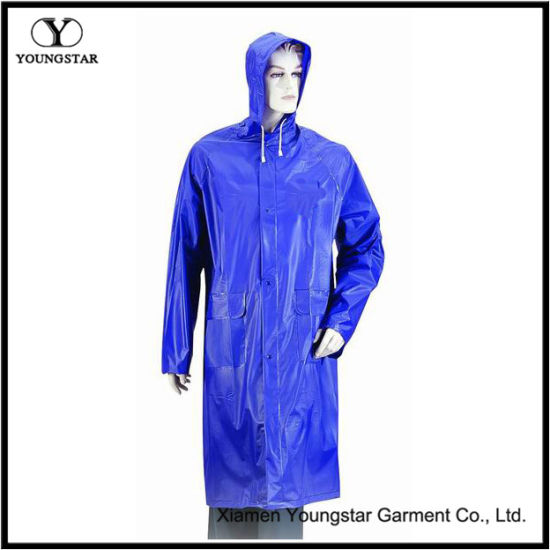 Blue Color PVC Waterproof Rain Coat with Hood