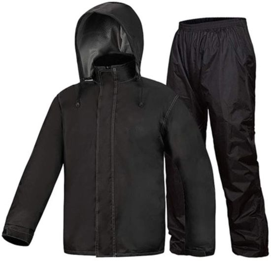 Raincoat Rain Pants Set, Men′s Rain Suit Hooded Raincoat Waterproof Jacket/Trouser Rainwear Snowcoat Ski Jacket/Pants, Cycling Raincoat (Color: Black, Size: Xx