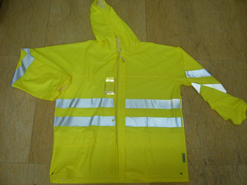 Fluorescent Green PU Motorcycle Rain Coat Jacket Rainwear