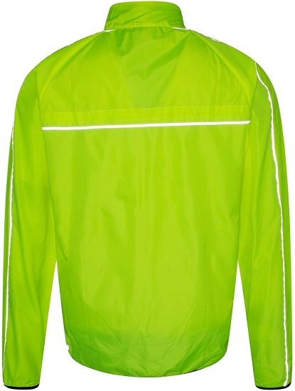 Water-Resistant Running Jacket - Highly Reflective Rain Jacket Mesh Panels Zipped Pockets Back - Best for Outdoors