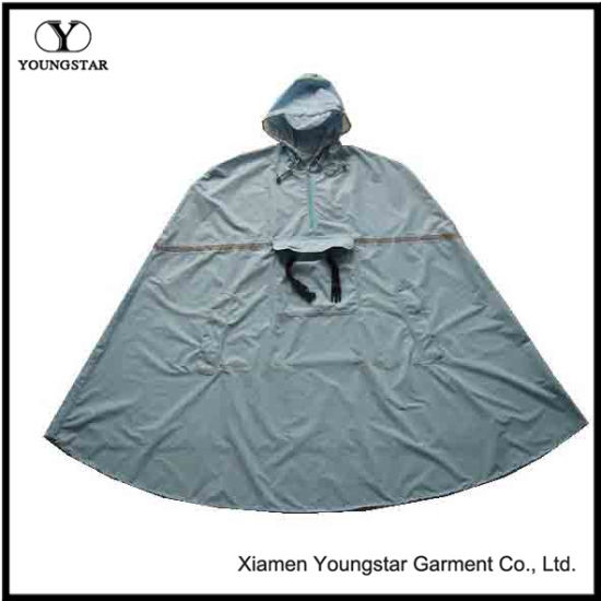 Backpacking Nylon Polyester Waterproof Mens Hooded Rain Poncho for Adults