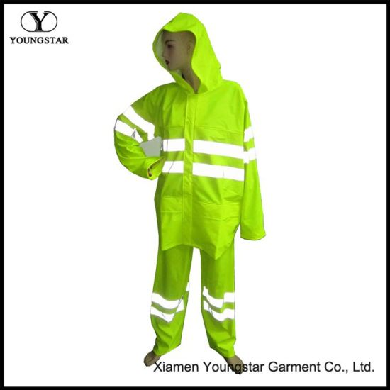PU Reflective Safety Raincoat Pant Set for Outdoor Security Working