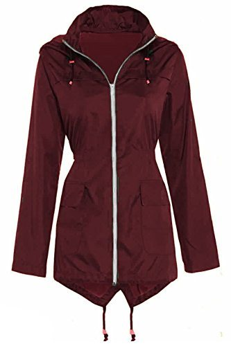 Love My Fashions Womens Plain Fishtail Hooded Lightweight Rain Parka Polyester Ladies Raincoat Jacket Two Pockets Plus Size