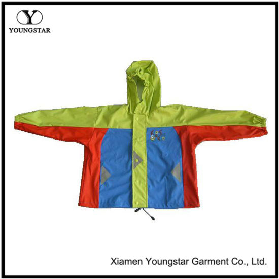 Raincoat Kids Boys Waterproof PU Coating Rain Jacket