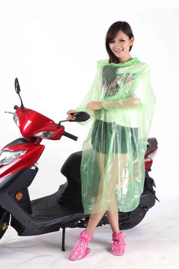 Clear PE Disposable Plastic Rain Poncho for Oudoor Cycling