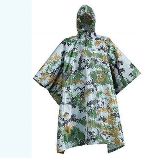 Outdoor Multi-Functional Light Poncho Hooded Camouflage Rain Cover Raincoat (Color: B)